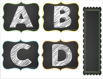 Word Wall ABC's and Editable Word Cards (Chalkboard Theme)