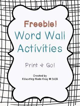Word Wall Activities Freebie!