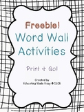 Word Wall Activities Freebie!