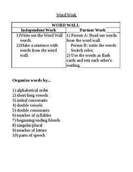 Word Wall Activities (independent of teacher)