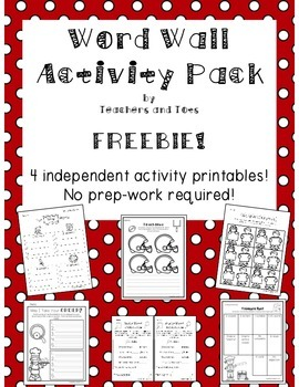 Word Wall Activity Pack-FREEBIE!