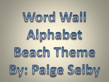 Word Wall Alphabet Beach Theme