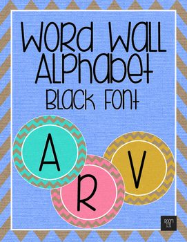 Word Wall Alphabet - Black Letters with Rainbow Burlap
