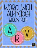 Word Wall Alphabet - Black Letters with Rainbow Burlap