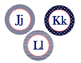 Word Wall, Alphabet Bundle (Nautical Navy Patterns and Coral Pink)