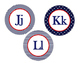 Word Wall, Alphabet Bundle (Nautical Navy Patterns and Red)
