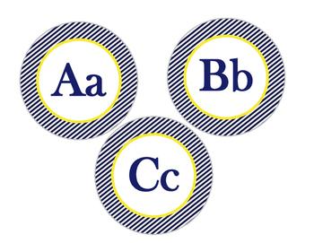 Word Wall, Alphabet Bundle (Nautical Navy Stripe and Yellow)