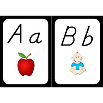 Word Wall Alphabet Cards (Black Frame) (D'nealian Font)