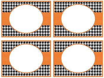 FREE Word Wall Alphabet Cards - Black Houndstooth & Orange