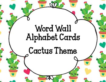 Word Wall Alphabet Cards- Cactus Theme