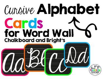 Word Wall Alphabet Cards-Cursive