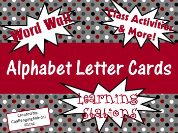 Word Wall Alphabet Cards - EDITABLE Black & Red Polka Dot
