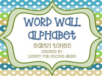 Word Wall Alphabet Cards - Earth Tones