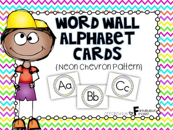 Alphabet Posters for the Classroom Neon Chevron Theme