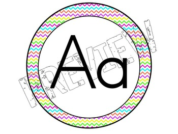 Alphabet Posters for the Classroom Neon Chevron Theme
