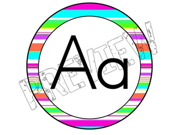 Alphabet Posters for the Classroom Neon Striped Theme
