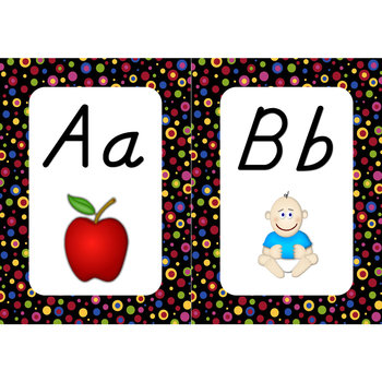 Word Wall Alphabet Cards (Primary Dots on Black) (D'nealian Font)