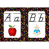 Word Wall Alphabet Cards (Primary Dots on Black) (Lined D'nealian Font)