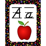 Wall Alphabet Cards (Primary Dots on Black) (Lined D'nealian Font)