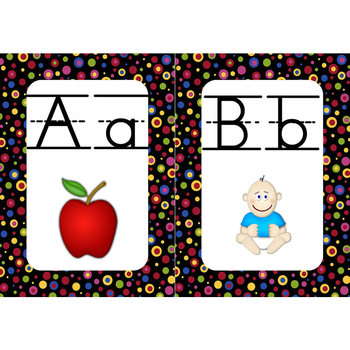 Word Wall Alphabet Cards (Primary Dots on Black) (Lined Manuscript)