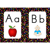 Word Wall Alphabet Cards (Primary Dots on Black) (Manuscript Font)