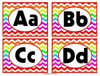 Word Wall Alphabet Cards - Rainbow Chevron