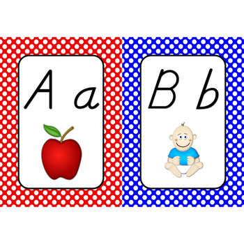 Word Wall Alphabet Cards  (White Dots on Primary Background)  (D'nealian)