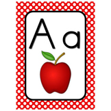 Wall Alphabet Cards  (White Dots on Primary Background)  (Manuscript)