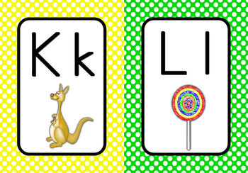 Word Wall Alphabet Cards  (White Dots on Primary Background)  (Manuscript)