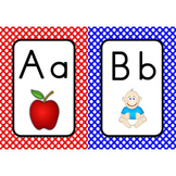 Word Wall Alphabet Cards  (White Dots on Primary Backgroun