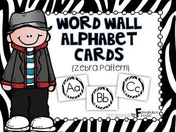 Alphabet Posters for the Classroom Zebra Theme