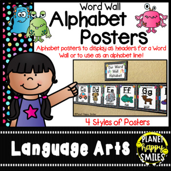Word Wall Alphabet Cards (large) Monster Theme