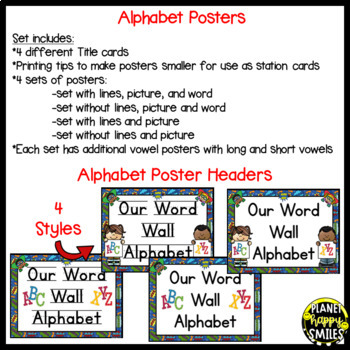 Word Wall Alphabet Cards (large and 2/page) ~ Super Hero Theme
