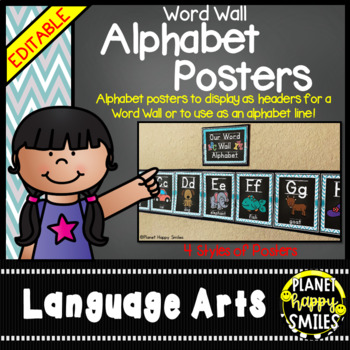 Word Wall Alphabet Cards (large) Teal and Chalkboard Theme