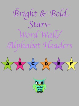 Word Wall Alphabet Header Banner- Bright & Bold Stars