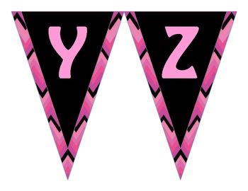 Word Wall Alphabet Header Banner- Pink Black Chevron