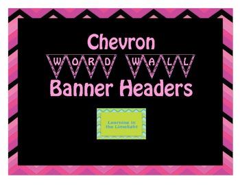 Word Wall Alphabet Header Banner- Pink Black Chevron