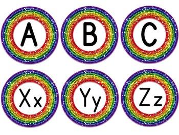Word Wall Alphabet Header in Rainbow Glitter (includes EDITABLE version)