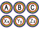 Word Wall Alphabet Header in Rainbow Glitter (includes EDI