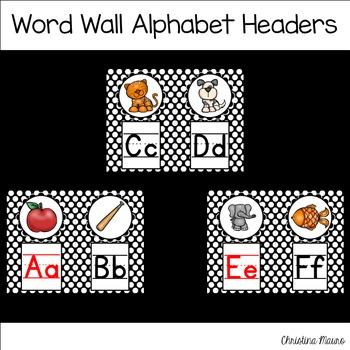 Word Wall Alphabet Headers - Black Polka Dots