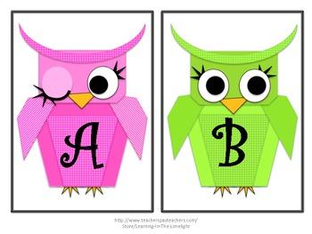 Word Wall Alphabet Headers- Bright Owls