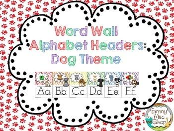 Word Wall Alphabet Headers: Dog Theme Version 2
