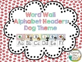 Word Wall Alphabet Headers: Dog Theme Version 2