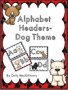 Word Wall Alphabet Headers: Dog Theme