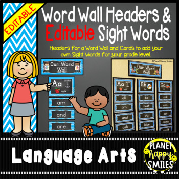 Word Wall Alphabet Headers & EDITABLE SW Cards, Aqua and Chalkboard theme