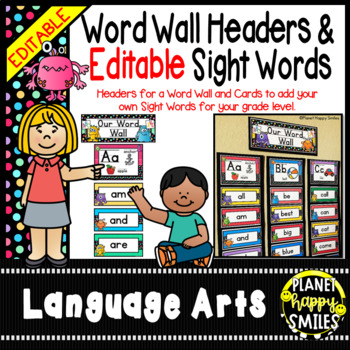 Word Wall Alphabet Headers & EDITABLE SW Cards, Monster Theme