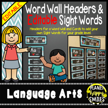 Word Wall Alphabet Headers & EDITABLE SW Cards, Teal and Chalkboard theme