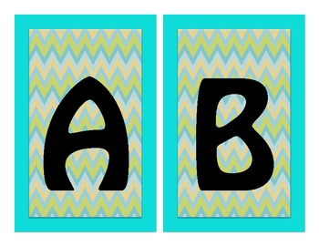 Word Wall Alphabet Headers- Lime, Aqua, & Gold Chevron