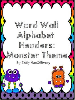 Word Wall Alphabet Headers: Monster Theme
