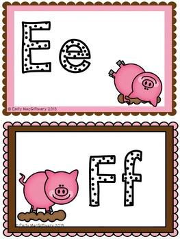 Word Wall Alphabet Headers: Pig Theme